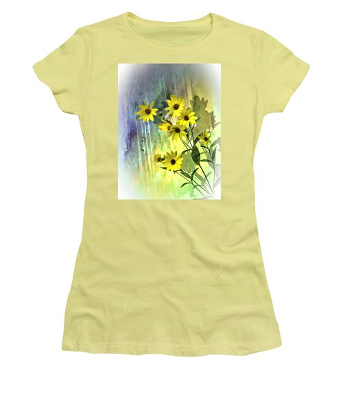 Yellow Daisies Women's T-Shirt (Junior Cut) by Judy  Johnson