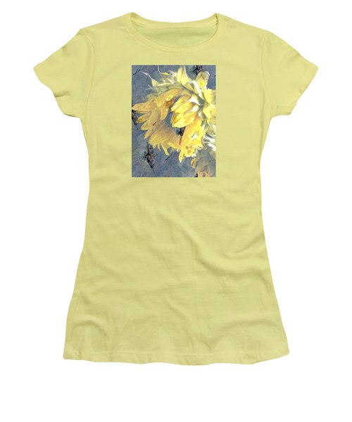 Yellow Fading Flower Women's T-Shirt (Athletic Fit)