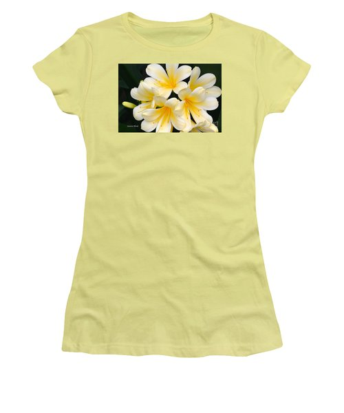 Women's T-Shirt (Junior Cut) featuring the photograph Clivia Yellow Flowers by Jeannie Rhode