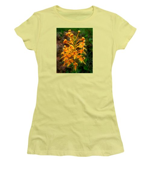 Wild Yellow Fringed Orchid Women's T-Shirt (Junior Cut) by William Tanneberger