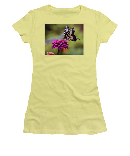 Women's T-Shirt (Junior Cut) featuring the photograph Yellow Tiger Swallowtail Butterfly by Kay Novy