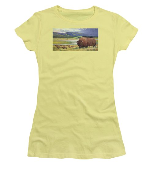 Women's T-Shirt (Junior Cut) featuring the painting Yellowstone Bison by Rob Corsetti