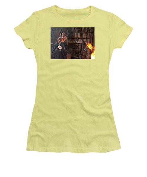 Young Blacksmith Girl Art Prints Women's T-Shirt (Junior Cut) by Valerie Garner