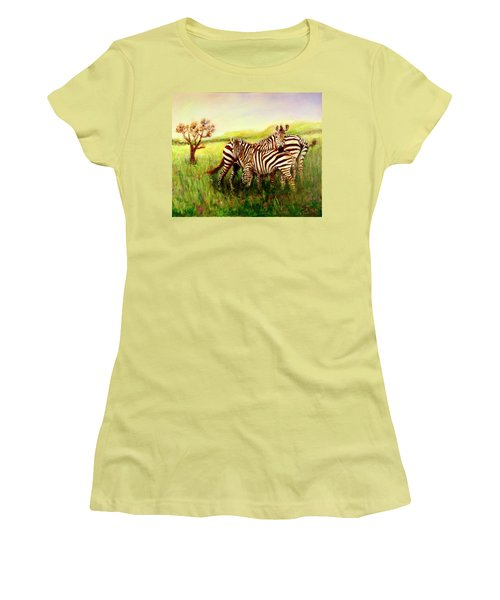 Zebras At Ngorongoro Crater Women's T-Shirt (Athletic Fit)