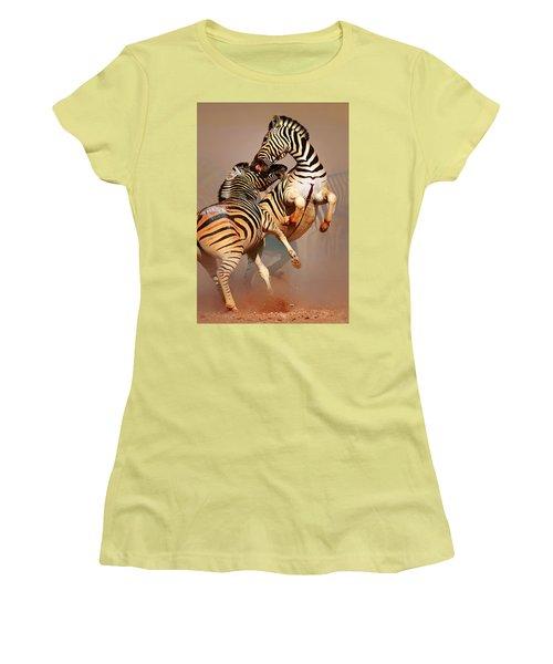 Zebras Fighting Women's T-Shirt (Junior Cut) by Johan Swanepoel