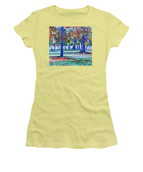 Fall In My Backyard Women's T-Shirt (Junior Cut) by Jan Bennicoff