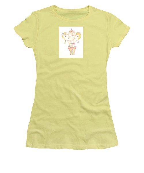 Women's T-Shirt (Junior Cut) featuring the painting Flower Pot Ladies by Nareeta Martin