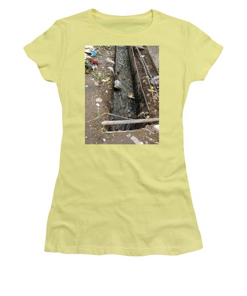 Women's T-Shirt (Junior Cut) featuring the photograph A Dirty Drain With Filth All Around It Representing A Health Risk by Ashish Agarwal