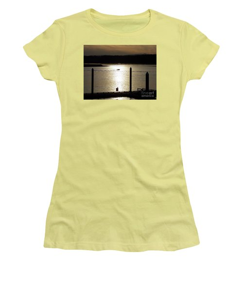 A Lone Boat At Sunset Women's T-Shirt (Junior Cut) by Chalet Roome-Rigdon