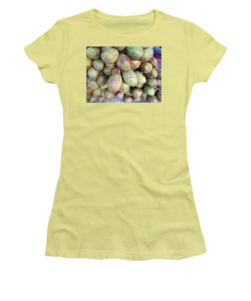 Women's T-Shirt (Junior Cut) featuring the photograph A Number Of Tender Raw Coconuts In A Pile by Ashish Agarwal