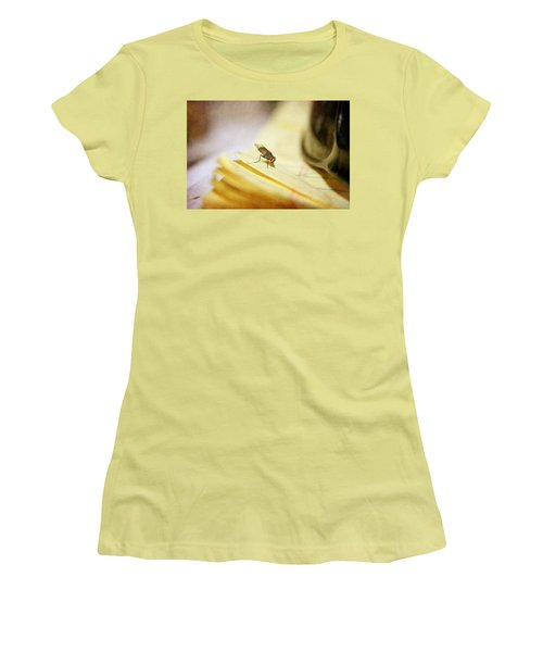 Women's T-Shirt (Junior Cut) featuring the photograph A Red Eyes Fly On The Yellow Paper by Ester  Rogers