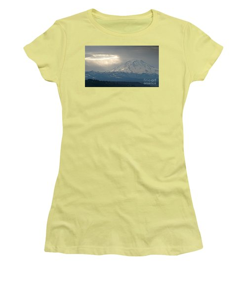 A Ring Of Bright Light Beside Mount Rainier Women's T-Shirt (Junior Cut) by Sean Griffin