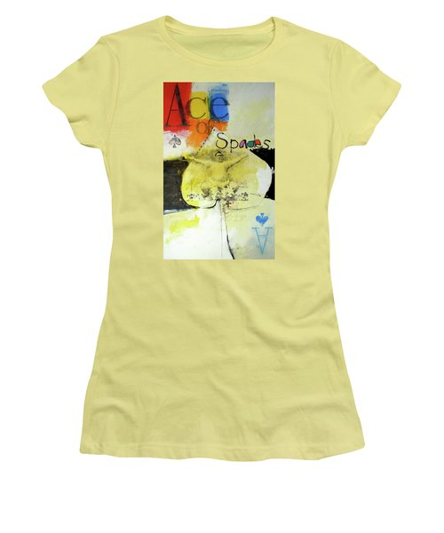 Women's T-Shirt (Junior Cut) featuring the mixed media Ace Of Spades 25-52 by Cliff Spohn