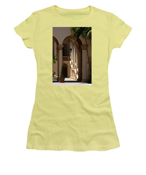 Women's T-Shirt (Junior Cut) featuring the photograph Arches And Columns At The Biltmore Hotel by Ed Gleichman