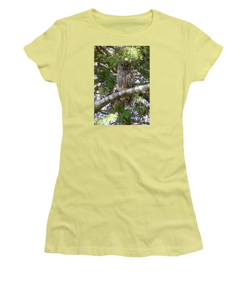 Women's T-Shirt (Junior Cut) featuring the photograph Barred Owl  by Francine Frank