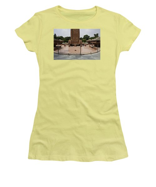 Women's T-Shirt (Junior Cut) featuring the photograph Base Of The Jallianwala Bagh Memorial In Amritsar by Ashish Agarwal