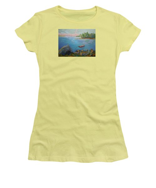 Women's T-Shirt (Junior Cut) featuring the painting Boat And Bay by Francine Frank