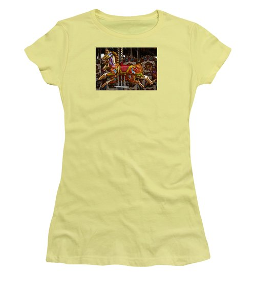 Women's T-Shirt (Junior Cut) featuring the photograph Carousel Horses by Steve Purnell