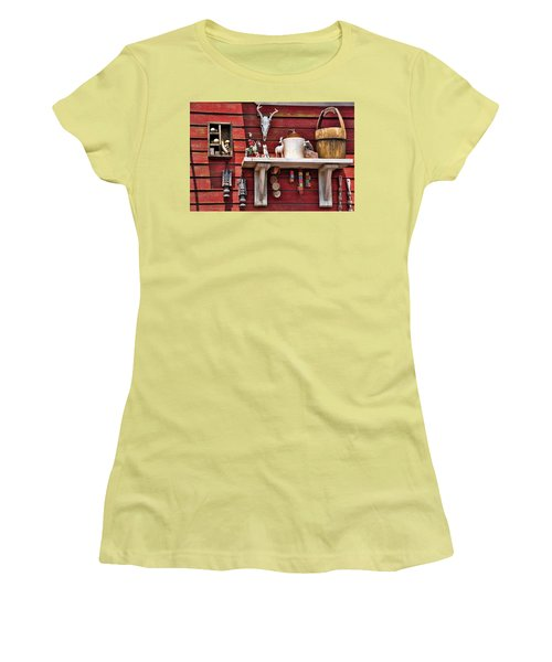 Women's T-Shirt (Junior Cut) featuring the photograph Collection On The Barn by Jan Amiss Photography