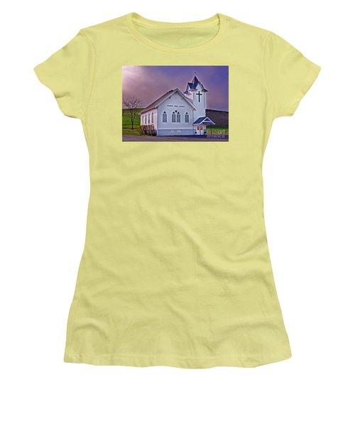 Women's T-Shirt (Junior Cut) featuring the photograph Country Church At Sunset Art Prints by Valerie Garner