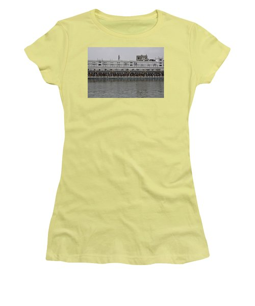 Women's T-Shirt (Junior Cut) featuring the photograph Crowd Of Devotees Inside The Golden Temple by Ashish Agarwal