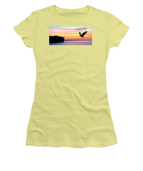 Women's T-Shirt (Junior Cut) featuring the photograph Eagle Sunrise by Randall Branham