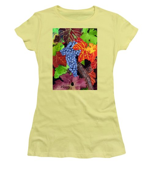 Fall Cabernet Sauvignon Grapes Women's T-Shirt (Junior Cut) by Mike Robles