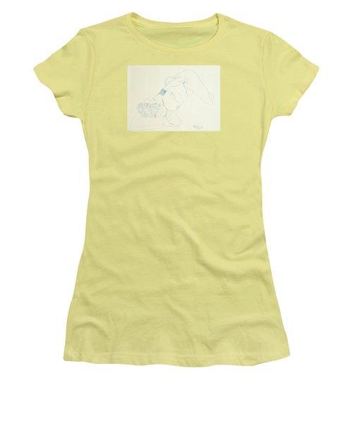 Female Nude In Blue Women's T-Shirt (Junior Cut) by Rand Swift