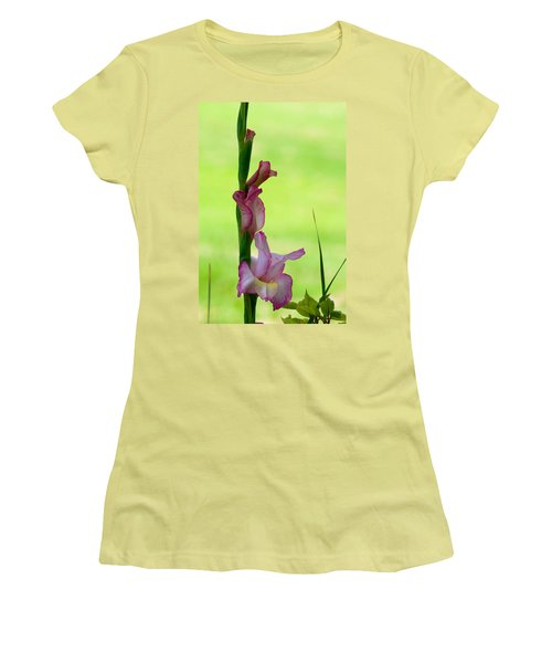 Women's T-Shirt (Junior Cut) featuring the photograph Gladiolus Blossoms by Ed Gleichman