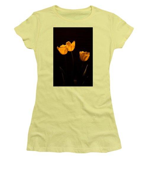 Women's T-Shirt (Junior Cut) featuring the photograph Glowing Tulips by Ed Gleichman