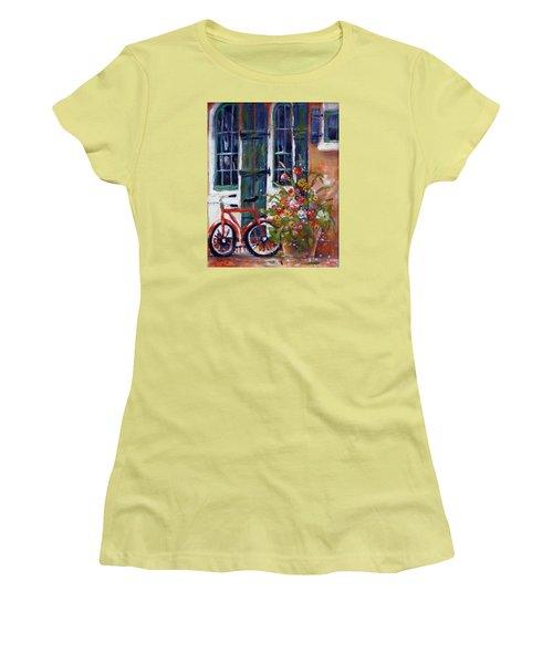 Women's T-Shirt (Junior Cut) featuring the painting Habersham Bike Shop by Gertrude Palmer