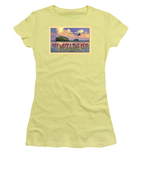 Women's T-Shirt (Junior Cut) featuring the painting Key West Air Force by David  Van Hulst