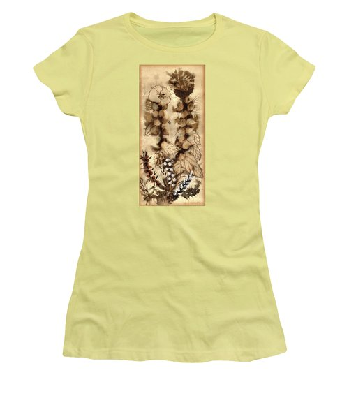 Kotsim Thorny Desert Plants In Brown Flowers Leaves Monochrome White   Women's T-Shirt (Athletic Fit)