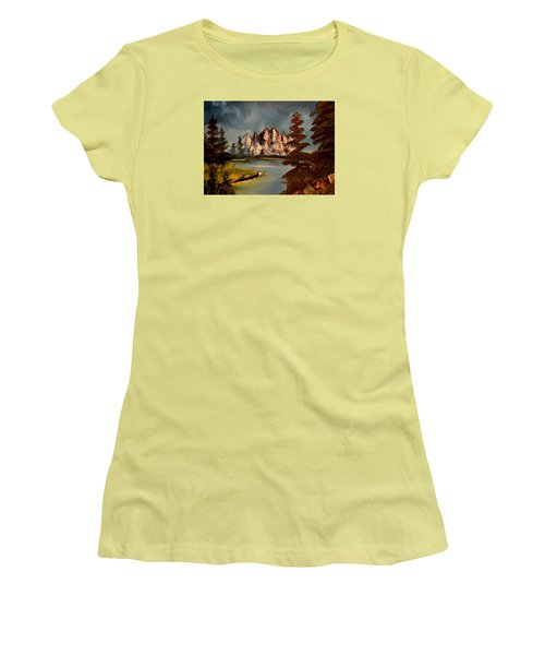 Women's T-Shirt (Junior Cut) featuring the painting Lakeview by Maria Urso