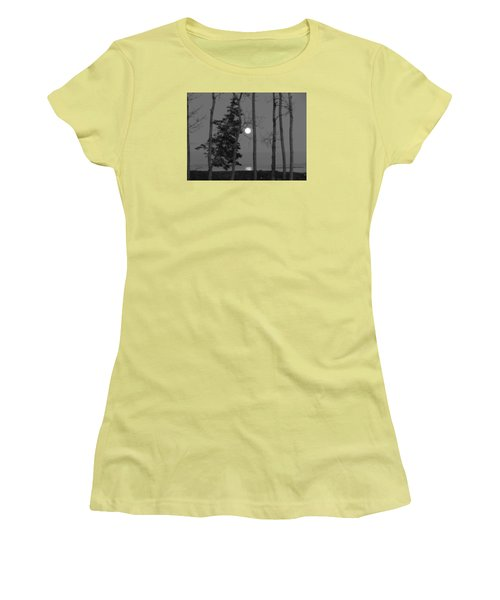 Women's T-Shirt (Junior Cut) featuring the photograph Moon Birches Black And White by Francine Frank
