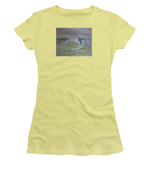 Women's T-Shirt (Junior Cut) featuring the painting Mount Desert Back Side by Francine Frank
