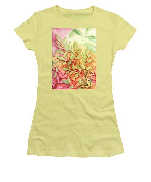 Nandina Leaves Women's T-Shirt (Junior Cut) by Carla Parris