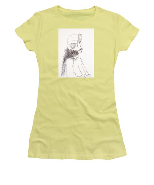 Nude With Hat On Bus Women's T-Shirt (Junior Cut) by Rand Swift