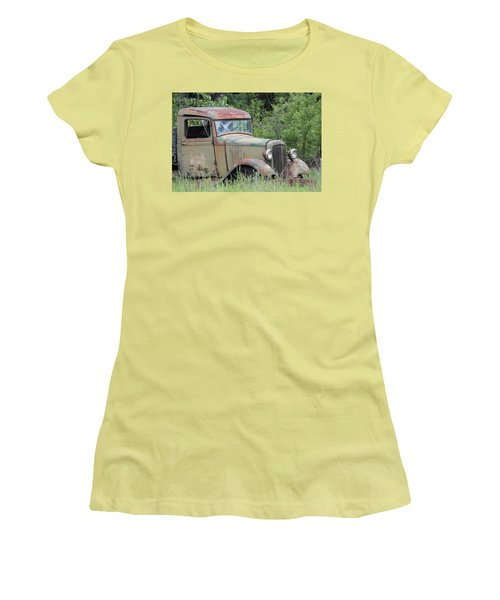 Abandoned Truck In Field Women's T-Shirt (Junior Cut) by Athena Mckinzie