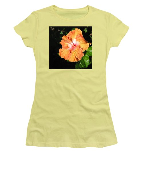 Orange Hibiscus After The Rain 1 Women's T-Shirt (Junior Cut) by Connie Fox