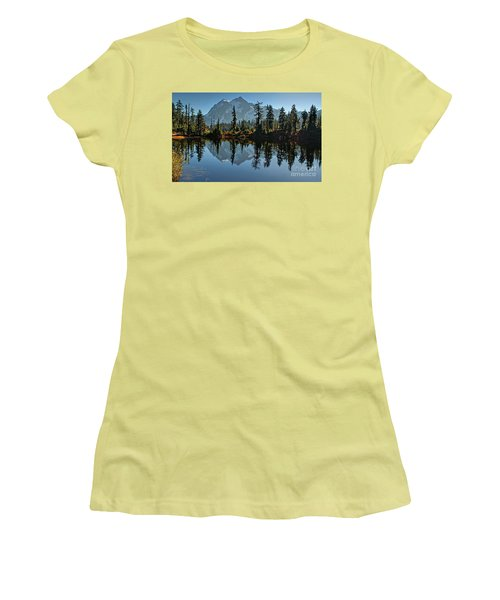Women's T-Shirt (Junior Cut) featuring the photograph Picture Lake - Heather Meadows Landscape In Autumn Art Prints by Valerie Garner