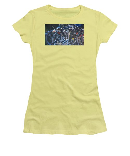 Women's T-Shirt (Junior Cut) featuring the photograph Racing Bikes by Sarah McKoy