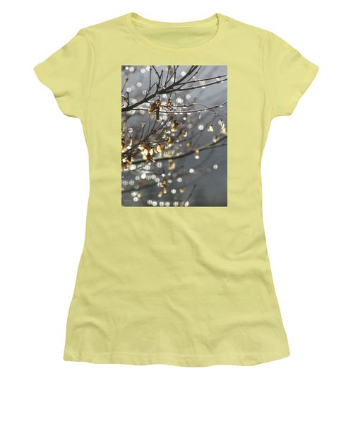 Raindrops And Leaves Women's T-Shirt (Junior Cut) by Katie Wing Vigil