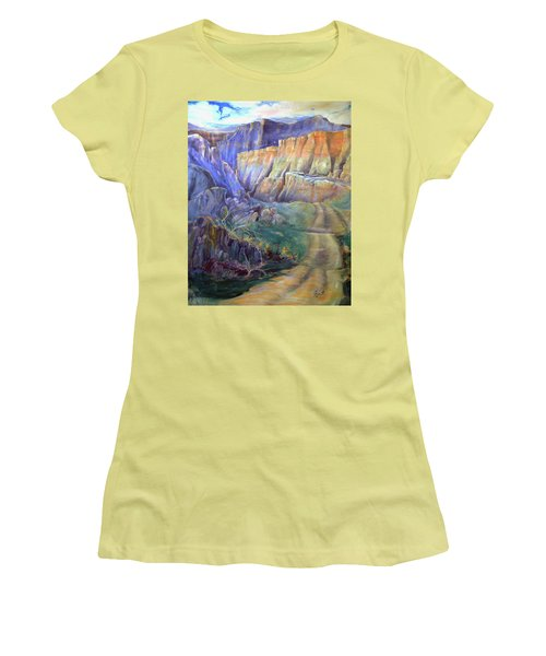 Women's T-Shirt (Junior Cut) featuring the painting Road To Rainbow Gulch by Gertrude Palmer