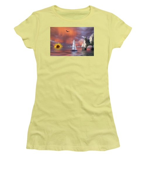 Sailing At Sunset Women's T-Shirt (Athletic Fit)