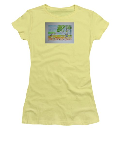 Women's T-Shirt (Junior Cut) featuring the painting Sandpoint Bathers by Francine Frank