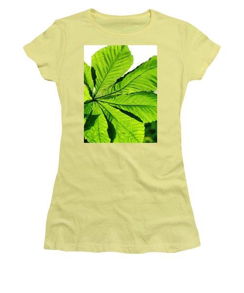 Women's T-Shirt (Junior Cut) featuring the photograph Sun On A Horse Chestnut Leaf by Steve Taylor