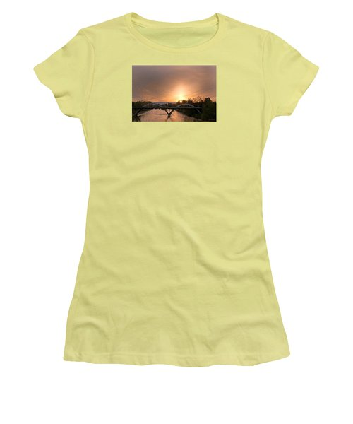 Sunburst Sunset Over Caveman Bridge Women's T-Shirt (Athletic Fit)