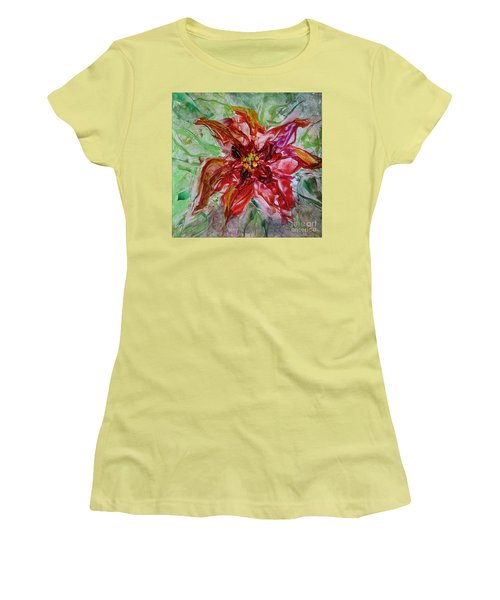 Women's T-Shirt (Junior Cut) featuring the painting The Christmas Poinsettia by Dragica  Micki Fortuna