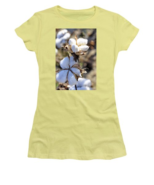 Women's T-Shirt (Junior Cut) featuring the photograph The Cotton Is Ready by Jan Amiss Photography